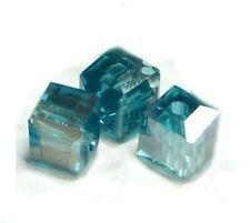 20 Rondell Kristal perlen 6mm Hell Blau Glasperlen Facettiert Schmuck X200
