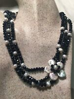 Vintage Style White Flower Baroque Freshwater Real Pearl Black Jet Necklace
