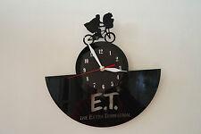 ET-1 design vinyl record wall clock, black matt sticker home art office bedroom