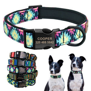 Personalized Boho Tribal ID Dog Collar Soft Neoprene Padded Engraved Buckle S-L