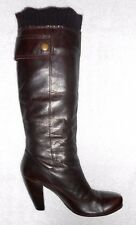SANS MARQUE bottes vintage zippées cuir marron doublure chaude P 37 = 36 ½  TBE