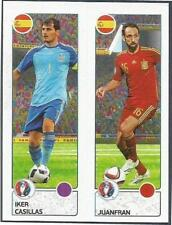 PANINI EURO 2016- #374-A-B-SPAIN-IKER CASILLAS / JUANFRAN IN ACTION