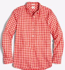 New J.CREW Gingham Red Plaid Gauze Shirt In Boy Fit Popover Top Sz S #G2396 NWOT