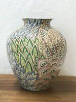 Vtg Asian Vase Planter Flower Pot Farmhouse Chic Blue Pink Green 80s, Lamp Base