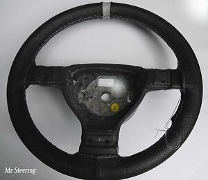 FOR CHEVROLET ASTRO 95-05 PERFORATED LEATHER STEERING WHEEL COVER+GREY STRAP