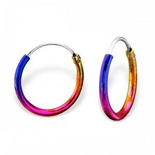 Childrens Girls Sterling Silver Hoop Multi Coloured Rainbow Earrings - Boxed