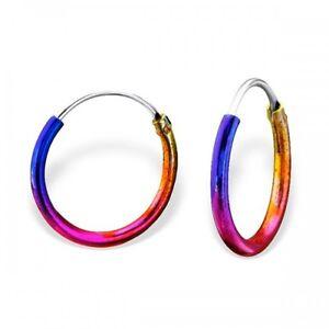 925 Sterling Silver Rainbow Hoop Earrings Girls Ladies 12mm- Gift Boxed