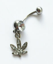Feuille de cannabis clair pot cristal strass nombril belly bar gem-bb30
