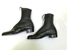ANTIQUE NEVER WORN BLACK LEATHER CHILD'S /TEEN'S HIGH BUTTON SHOES BOOTS