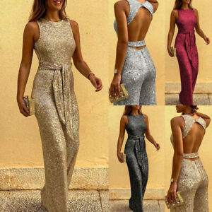 Womens Sequins Sleeveless Wide Leg Jumpsuit Evening Party Casual Long Playsuit
