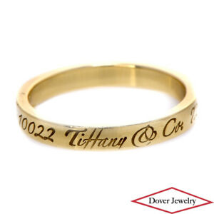 Tiffany & Co. 18K Gold '727 Fifth Avenue New York 10022' Band Ring NR