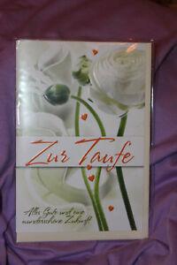 1 Grußkarte - Zur Taufe weiße Blumen + Umschlag Originalverpackt basteln Grüße