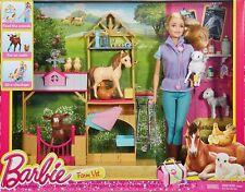 Barbie Hoftierärztin / Tierarzt Bauern Farm DHB71 MATTEL Puppe Stall Pferd Kuh