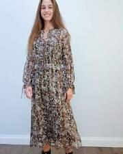 MUNTHE Dress Floral Print Designer Silk Dress size L
