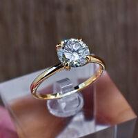 14K Gelbgold Verlobungsring Rund Schliff 2.00 Karat Diamant Solitaire Größe M