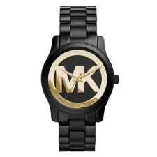Michael Kors Women's MK6057 Runway Black And Gold Dial Black Ion Plated Watch