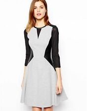 Womens Karen Millen Grey Jersey Black Faux Leather Skater Dress Size UK 14 EU 42