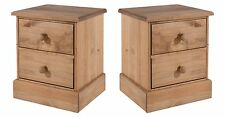 Pair of 2 Drawer Large Bedside Cabinets Thule Solid Pine Wood Bedroom Furniture