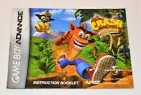 MANUAL ONLY Crash Bandicoot: The Huge Adventure Nintendo Gameboy Advance