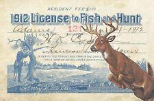 Vintage Whitetail Deer Bow Hunting License Art Print 11x17 Antlers Cabin Decor