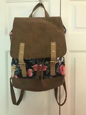 NEW American Eagle Floral Backpack Faux Leather & Cotton Drawstring Bucket Style