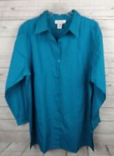 Silhouette Long Shirt Top XL Blue Button Down