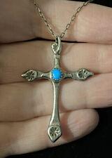 Vtg Navajo Sterling & Turquoise Cross Pendant Necklace