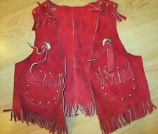 Vintage Sears Suede fringe leather L 6-6x Cowgirl boy Western Red riveted vest