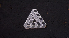 Impossible Geometry Sacred G Cube Triangle Gray Scale Enamel Lapel Hat Pin