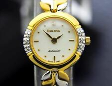 Bulova Ambassador Ladies Swiss Gold Plated Diamond Dress Watch c2000 J6643