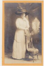 Studio Real Photo Postcard RPPC - Woman with Large Hat and Wicker Slipper Chair