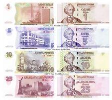 More details for transnistria 1 + 5 + 10 + 25 rubles 2007-2012 set of 4 banknotes 4 pcs unc