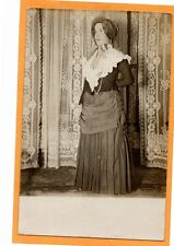 Real Photo Postcard RPPC - Woman in Quaint Costume - Lace Curtains