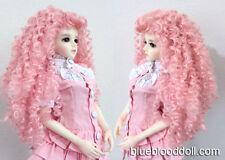 """1/4 1/3 bjd 7-8"""" doll head pink curly long wig dollfie MSD Luts Iplehouse"""