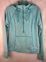 Tangerine, Women's size Small hoodie, zip up front blue & white striped, pocket