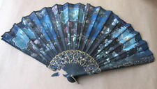 Antique painted flowers carved wooden hand fan for repair  #3