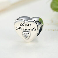 European 925 Sterling Silver Charm Friendship Love Heart Bead with Clear CZ