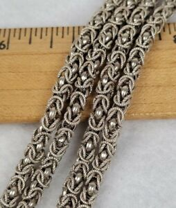 """Vintage Sterling Silver Necklace Byzantine Long Heavy Chain 31"""" 53.8g"""