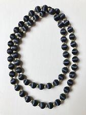 "Black Fabric/Goldtone Beads Necklace, Single Strand, 30"" Circumference"