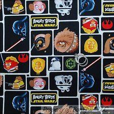 BonEful FABRIC FQ Cotton Quilt Black White B&W Sm Angry Bird Block Star Wars Boy
