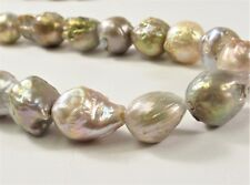 10-12 mm Large Hole Natural Seaweed Baroque Pearl 2mm Hole Natural Baorque(#243)