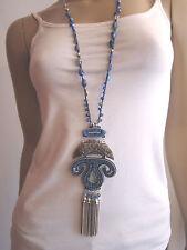 Modekette Damen Hals Kette lang Silber Blau Perlen Hippie Ethno Ibiza Boho l997