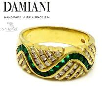 NYJEWEL Damiani 18k Yellow Gold Emerald Diamond Wavy Band Ring
