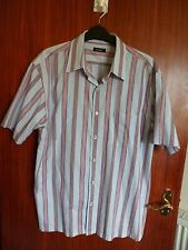 gent's Linea blue and red striped short sleeved cotton shirt size L