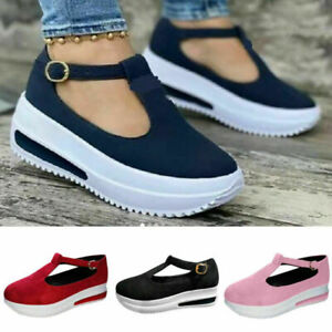 Womens T-Bar Sandals Buckle Round Toe Ankle Strap Platform Summer Loafers Shoes