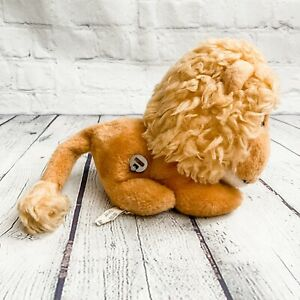 """Vtg Eden LION MUSIC TOY Moves Head Plush Wind Up Musical 8"""" This Old Man Works!"""