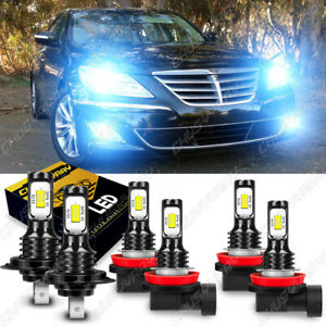 For 2009-2014 Hyundai Genesis 6x LED Headlight High/Low Beam+Fog Light Bulbs Kit