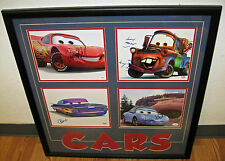 CARS FOUR MAIN CHARACTERS FRAMED AUTOGRAPHED PSA & JSA AUTHENTICATED PHOTOS