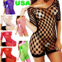 Cozy Feel Babydoll Body stocking Fishnet Lingerie Sleepwear Body Chemise HLD9