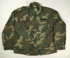 US ARMY woodland camo Special Forces MENS L long sleeve button up shirt / jacket